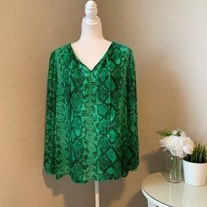 MICHEAL KORS Green Snakeskin Blouse 💚